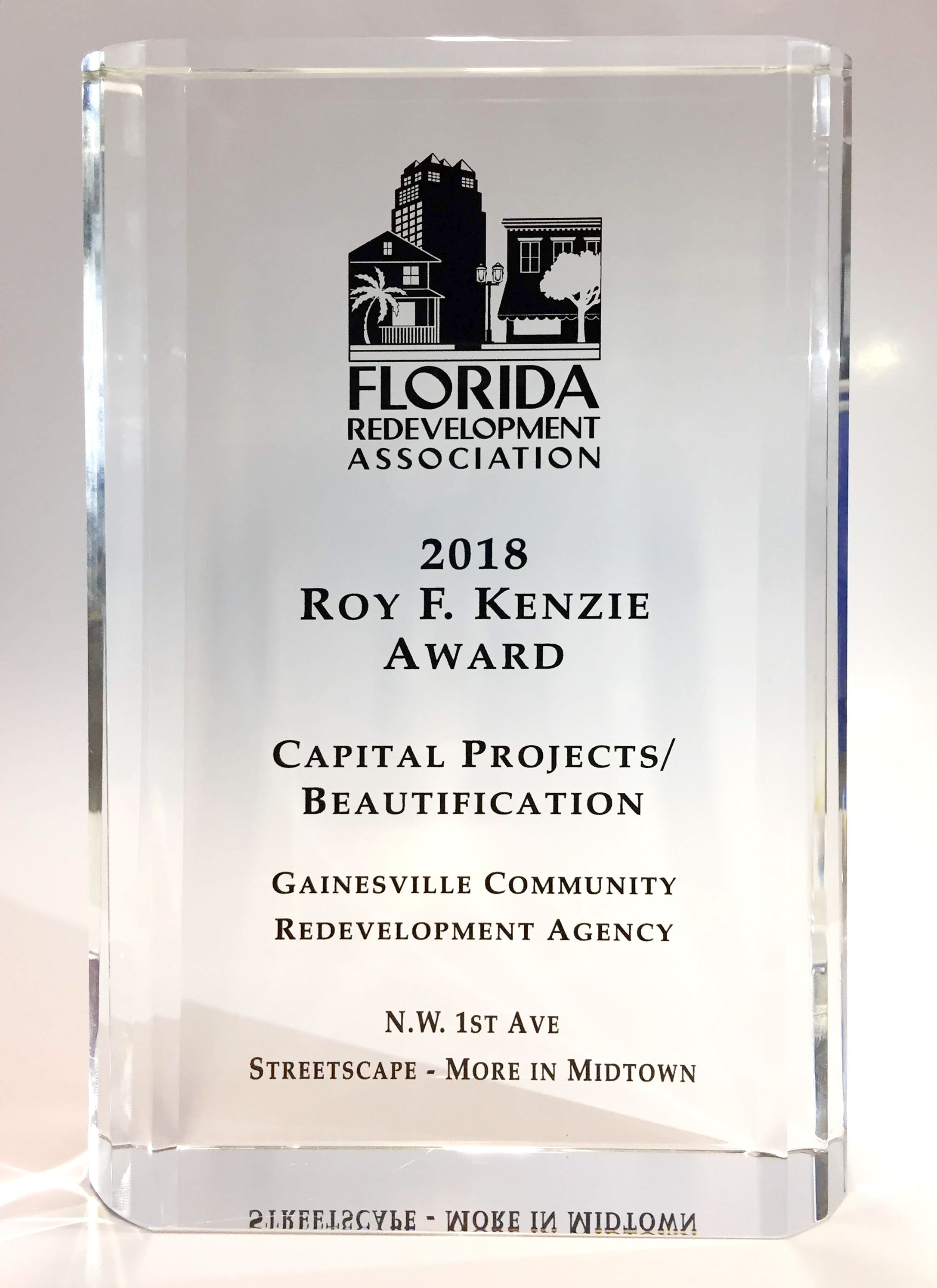 Gainesville CRA Receives Capital Projects/Beautification Award from Florida Redevelopment Association